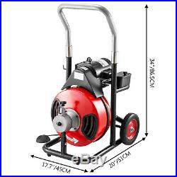 100' x 1/2 Drain Cleaner 550W Drain Pipe Snake Auger Cleaning Machine WithCutter