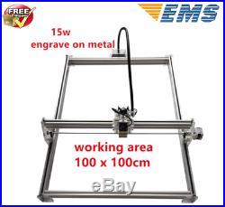 15W CNC Laser Engraver Full Metal Marking Machine Wood Cutter 100x100cm DIY Kit