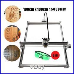 15W CNC Laser Engraver Metal Machine Wood Cutter 100x100cm Aluminum 12V Bamboo