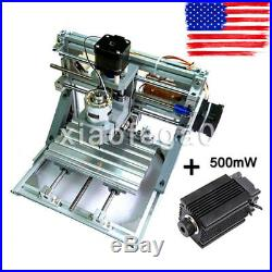 3 Axis DIY CNC Router Machine+500mW Laser Engraving PCB Milling Wood Carving USA