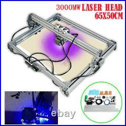 3000mW Mini Laser Engraving Carving Machine Wood Printer 65X50CM Area DIY Kit
