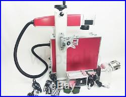 30W Fiber Laser marking machine metal engraver engraving rotary axis chuck drum