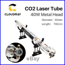 40W CO2 Laser Tube Metal Head 700mm Glass Pipe for Laser Engraver Cutter Machine