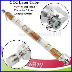 40W CO2 Laser Tube Metal Head Glass Pipe 700mm For Cutting Engraving Machine