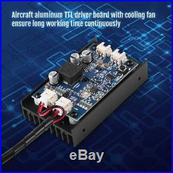 450nm 15W Laser Module With Heatsink Fan Support TTL/PWM for DIY Laser Engraver L