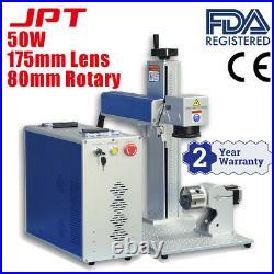 50W JPT Fiber Laser Marking Machine Laser Engraver Laser Marker with 80mm Rotary