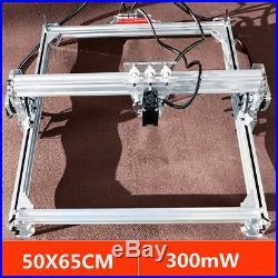 50x65CM Laser Engraving Cutting Machine DIY CNC Engraver Printer Kit 300mW New
