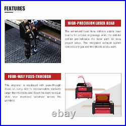 60W 28x20in CO2 Laser Engraving Cutting Etching Machine w Air Assist Ruida Panel