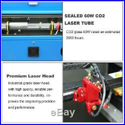 60W CO2 Laser Engraver Engraving Cutting Machine 700x500mm Working Area with Wheel
