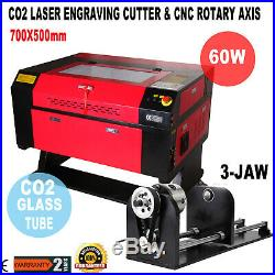 60W CO2 Laser Engraving Cutter Machine Engraver Water Cooling USB + Rotary Axis