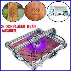 65x50CM 3000MW CNC Laser Engraving Machine 2 Axis DC 12V DIY Engraver Desktop US