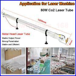 CNC 80W Co2 Laser Tube Glass Head D80mm L1250mm for CO2 Laser Engraver Machine