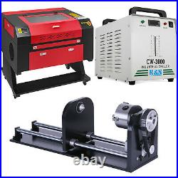 Laser Engraver 60W CW-3000 Industrial Water Cooler Chiller and CNC Rotary Axis