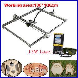 MINI CNC 100100 Router Kit &15W Laser Module Wood Carving Engraving DIY Machine