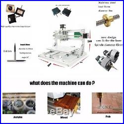 Mini 3 Axis DIY CNC 2418 Router Kit Wood Engraver Milling Machine + 5500mW Laser