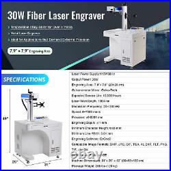 OMTech 30W 8x8 in. Fiber Laser Marking Machine for Metal with Rotary Axis A