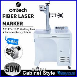 OMTech 50W Fiber Laser Cutter Engraving Machine 12x12 with Fiber Rotary Axis A