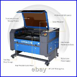 OMTech 60W 28x20 CO2 Laser Engraver Cutter with Cylinder Rotary Attachment