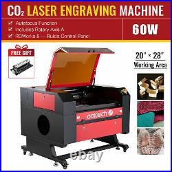 OMTech 60W 28x20 CO2 Laser Engraver Cutter with Rotary Axis Ruida Autofocus
