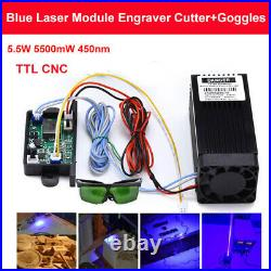 Powerful CNC TTL 5.5W 5500mW 450nm Blue Laser Module Engraving Cutter + Goggles
