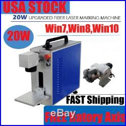 USA! 20W Fiber Laser Marking Machine Metal Engraver / Marker FREE Rotary Device