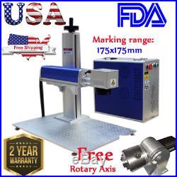USA FDA 30W Fiber Laser Marking Metal Engraving Engraver FREE Ratory Axis